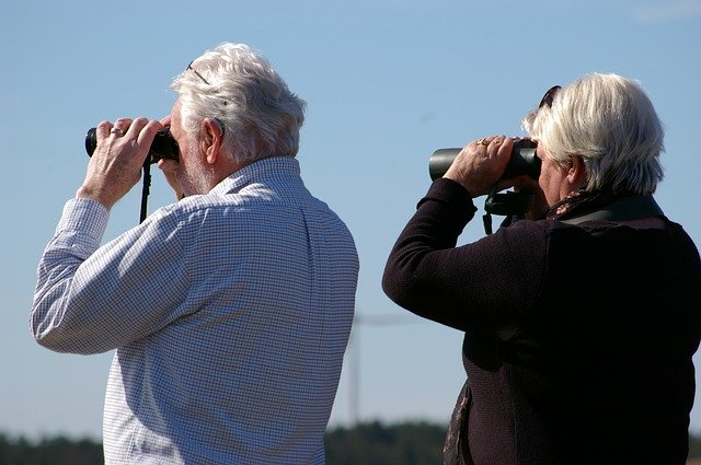 People looking through binoculars