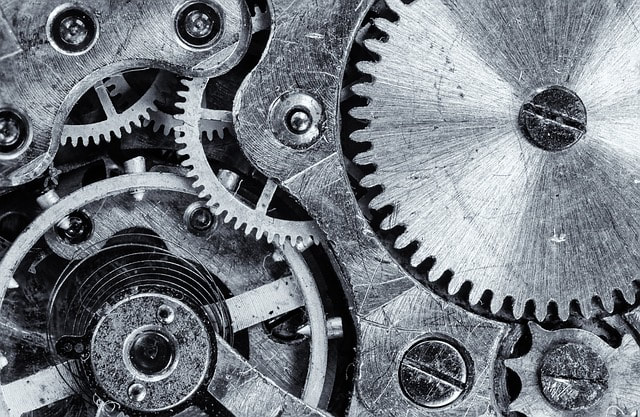 Gears and wheels turning